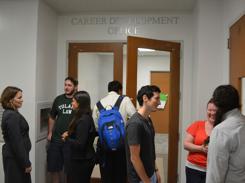 Law students in the hallway in Weinmann Hall