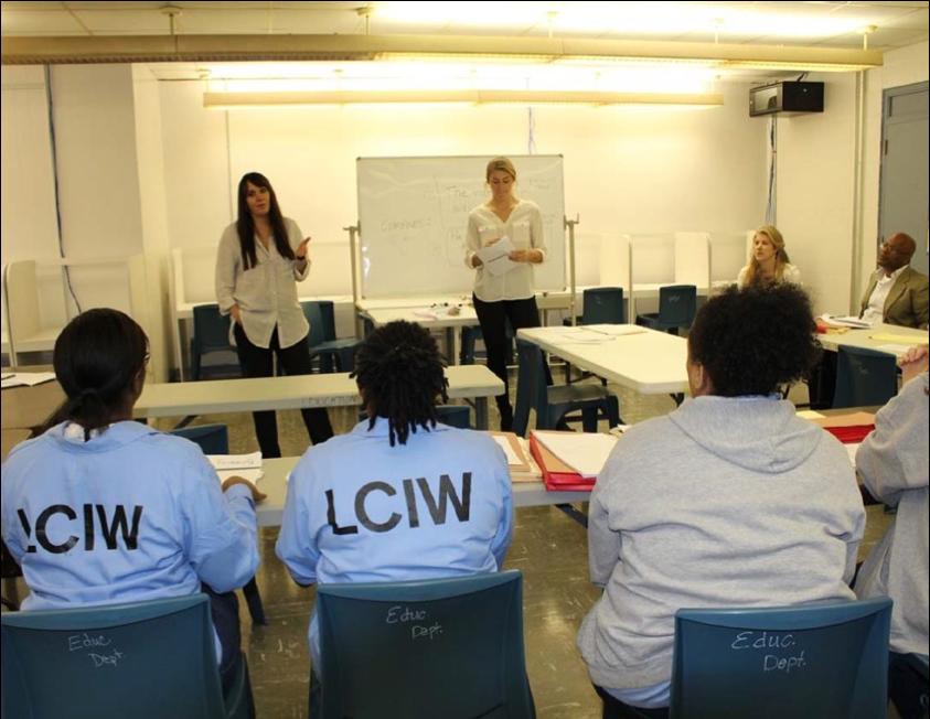 Teachers in front of classroom